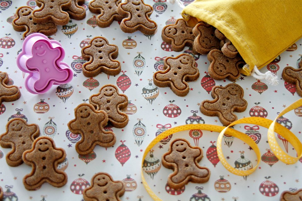 Homemade gingerbread Christmas plunger dog treats