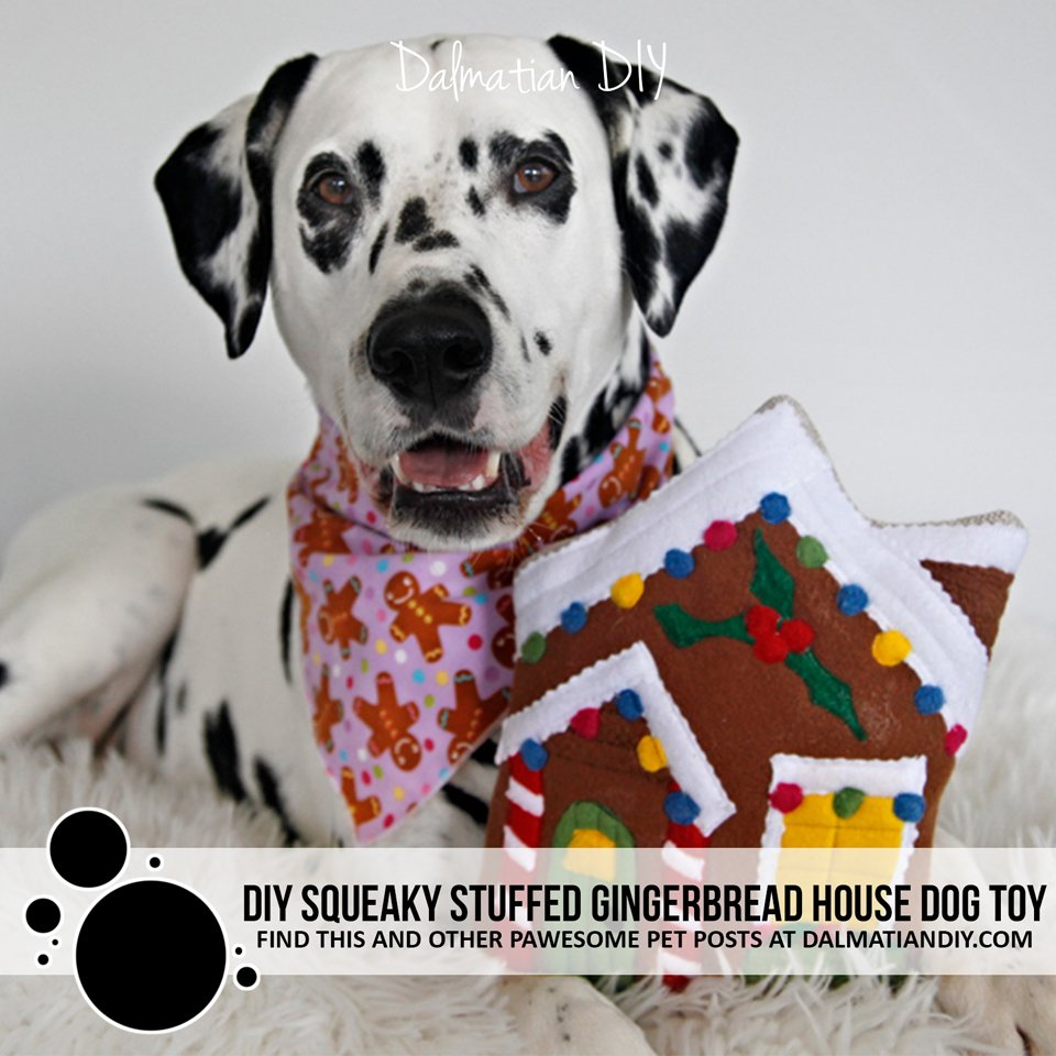 DIY squeaky stuffed gingerbread house dog toy