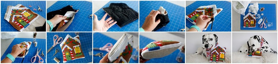 Step-by-step sewing and stuffing a gingerbread house dog toy