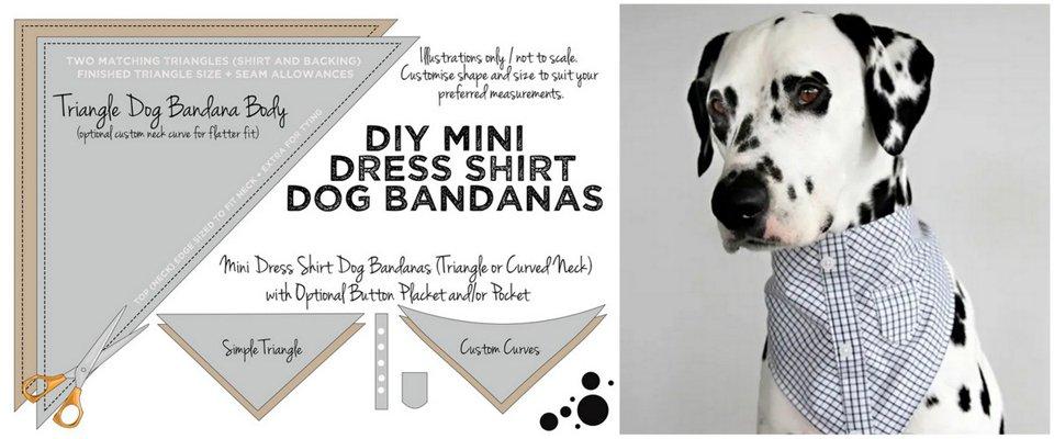Diagram for making a DIY dress shirt dog bandana