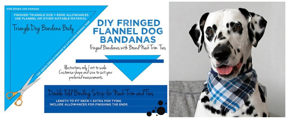Diagram for making DIY fringed flannel dog bandana with binding accent neck ties