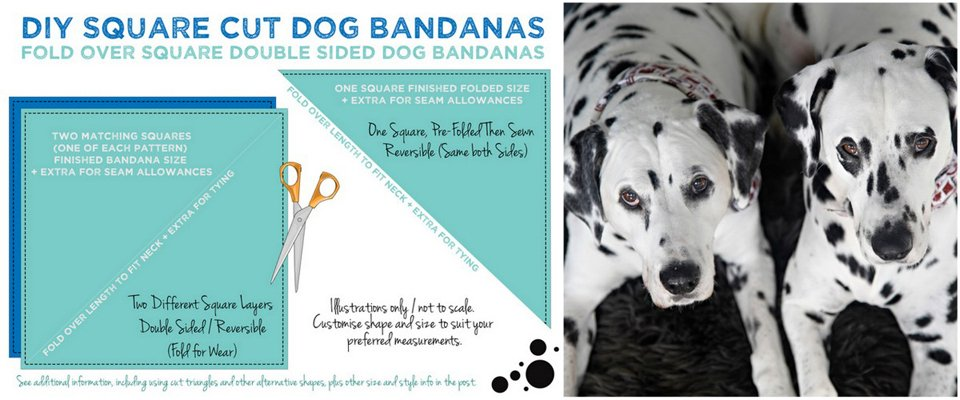 Diagram for making easy fold-over square DIY reversible dog bandanas