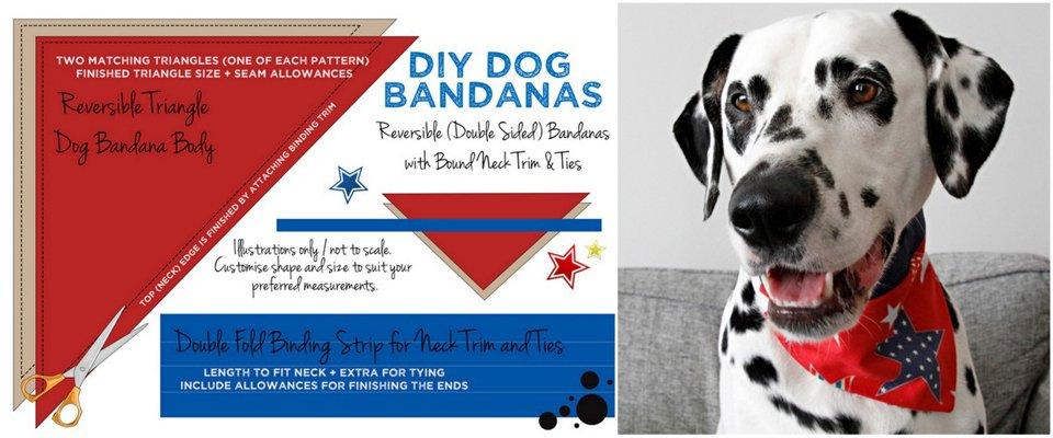 Diagram for making reversible DIY dog bandana with binding accent neck ties