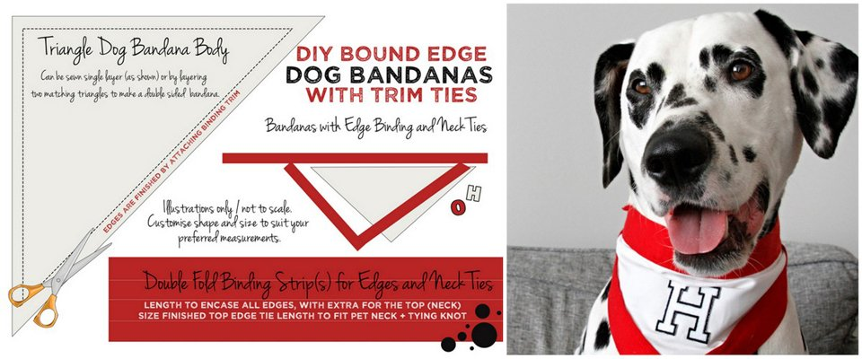 Diagram for making DIY dog bandana with binding edge trim and neck ties