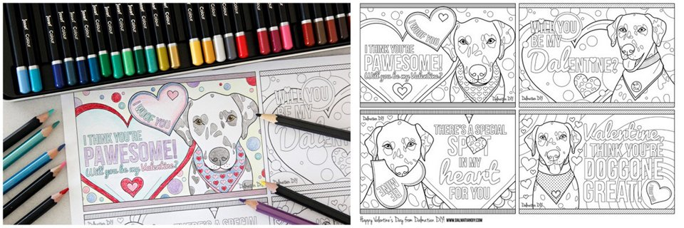 Free printable Dalmatian dog Valentine colouring cards