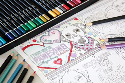 Free printable Dalmatian dog Valentine's Day card colouring pages