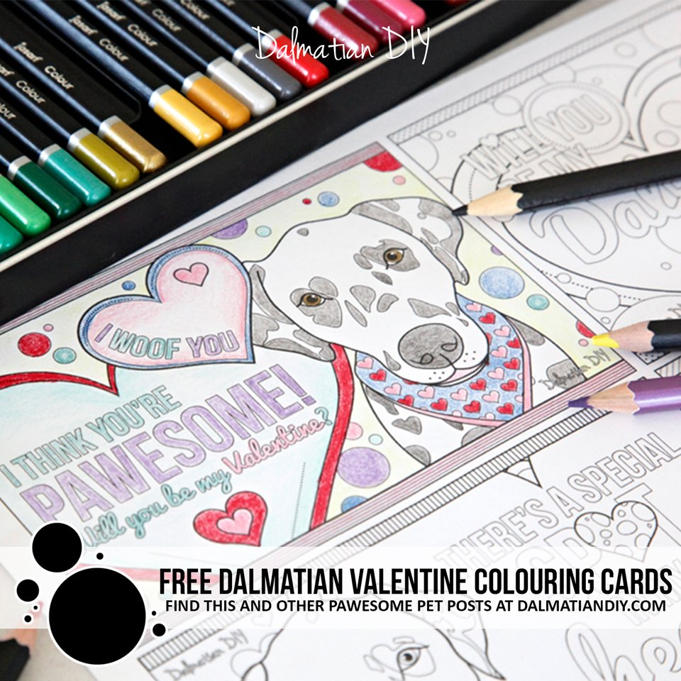 Free printable Dalmatian dog Valentines colouring pages