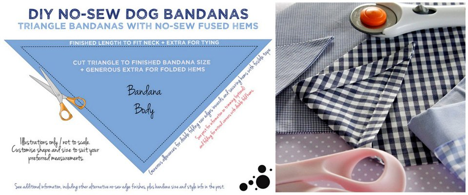 Diagram for making DIY no-sew dog bandana with fusible tape hems