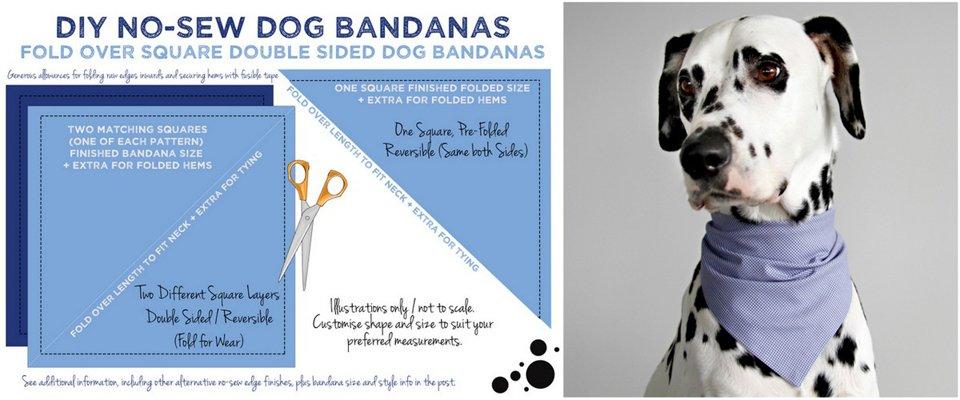 Diagram for making DIY no-sew dog bandana with hidden fusible tape hems