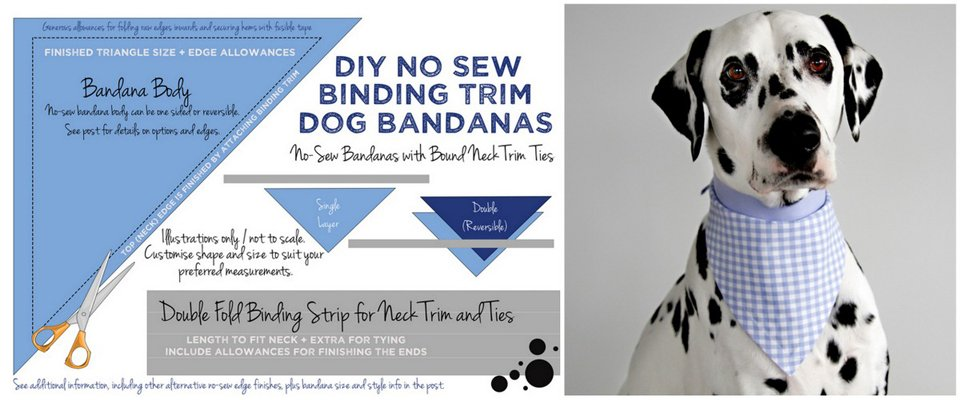Diagram for making DIY no-sew dog bandana with fusible tape hems and binding trim neck ties