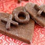 Homemade layered heart XO Valentine dog treats