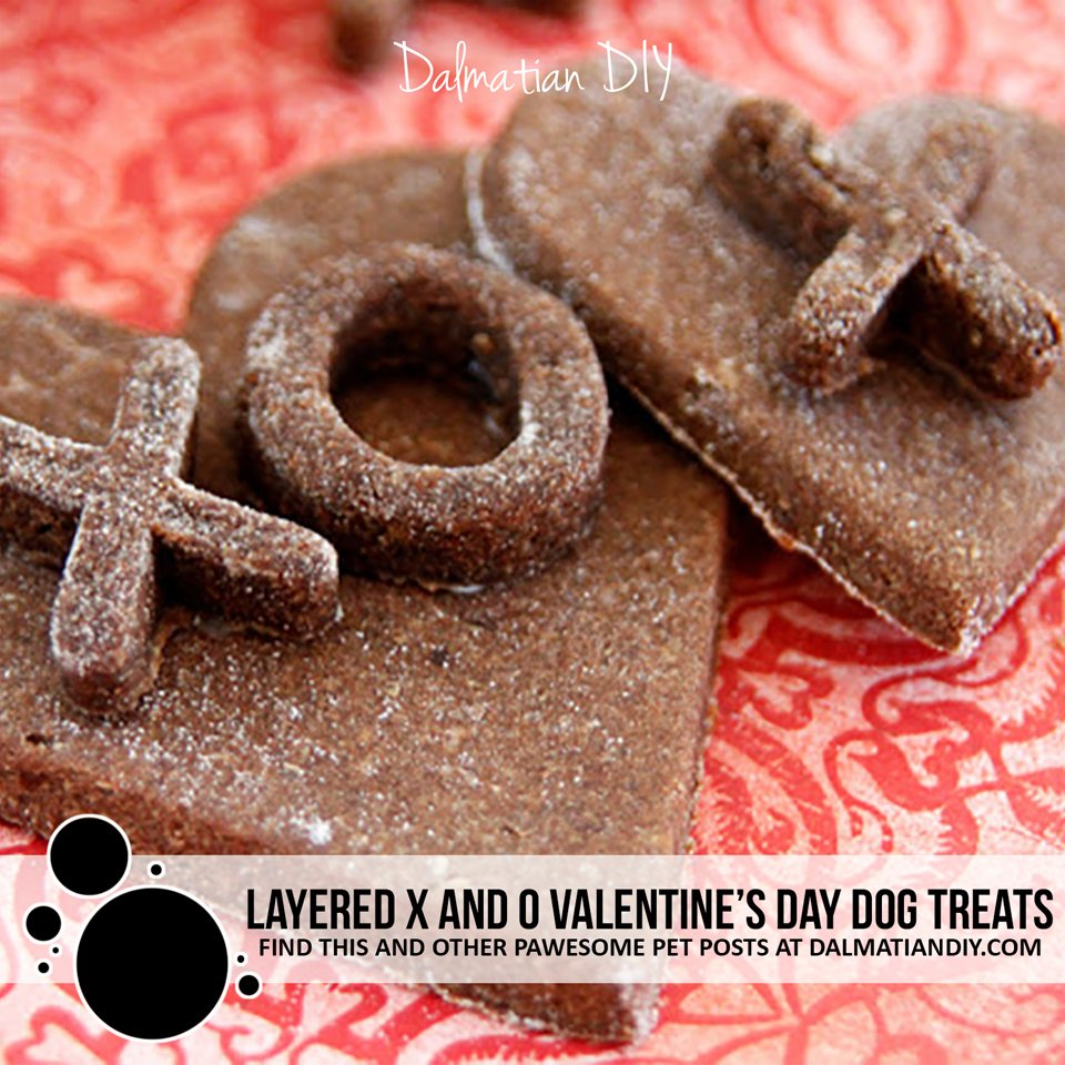 Homemade layered heart XO Valentine dog treats