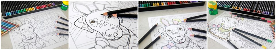 Colouring page with Dalmatian dog wearing Easter bunny ears