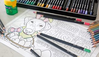 Free printable Easter bunny dog colouring page