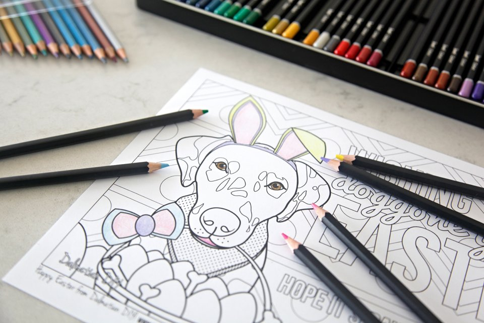 Free printable Easter bunny dog colouring sheet