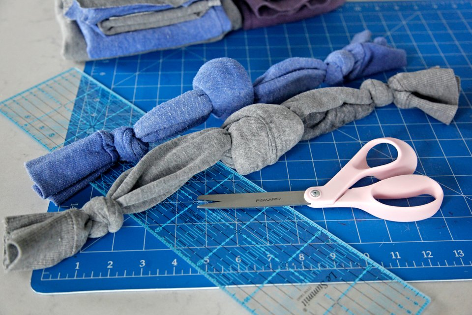 DIY dog toys made from old sweatshirt sleeves