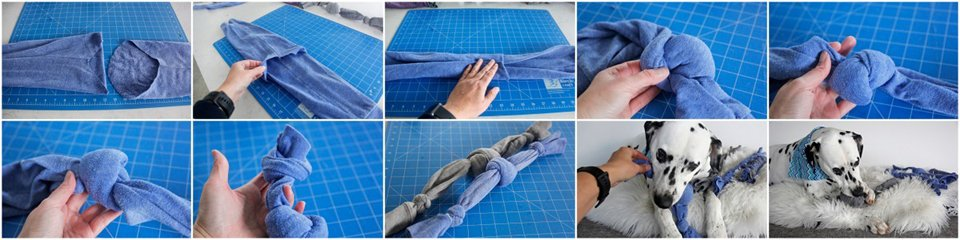 Making a dog tug toy using recycled sweatshirt sleeves