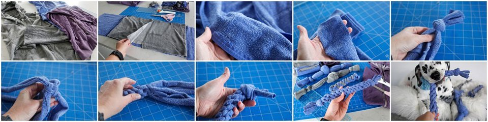 Making a dog tug toy using recycled sweatshirt material