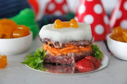 Homemade DIY dog birthday cake with steak or meat instead of cake