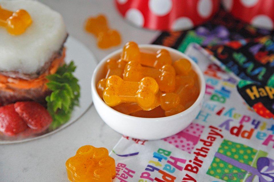 Homemade turmeric treats for dog birthday party